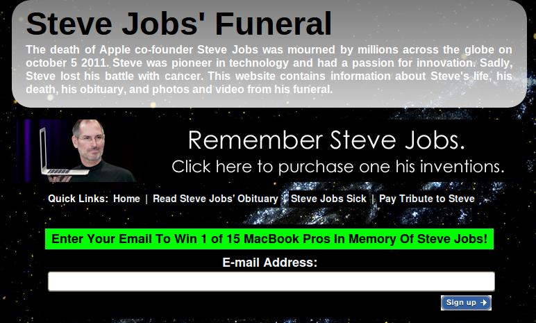 stevejobsfuneral.com: scumbag website