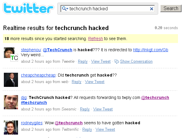 TechCrunch hacked