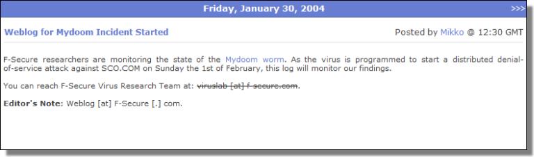Weblog for Mydoom Incident Started
