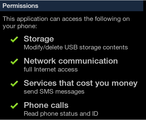 RuFailedSMS, permissions