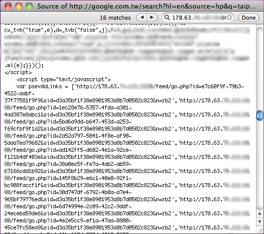 google.tw infected system search source
