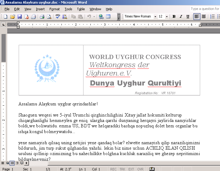 Targeted attack against Uyghur supporters