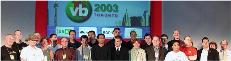 Speaker row from Virus Bulletin 2003 in Toronto